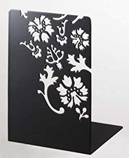 Sunline Kirie - Pair of Black Metal Bookends with Flower Cutout Pattern, Modern Home Decor