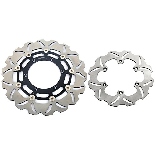 TARAZON Black Set Front & Rear Brake Rotor Disc for Suzuki DRZ400SM 2005-2016