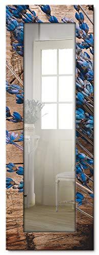 Artland Ganzkörperspiegel Holzrahmen zum Aufhängen Wandspiegel 50x140 cm Design Spiegel Landhaus Natur Blumen Blüten Lavendel Holzoptik T9QJ