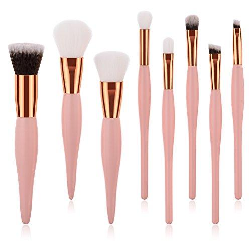 Frcolor Kits Pinceaux de Maquillage Professionnels Blush Brosses avec Poignée Droite 8 Pièces