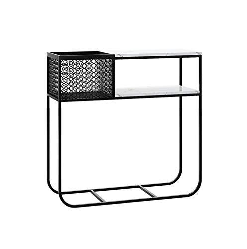 HAIZHEN Mesa de Sofá 2-Tercer consola de mesa, marco de metal Sofá mesa de mármol Tabla Puerta de entrada con el estante de almacenamiento, for la sala de estar, comedor, pasillo, entrada, 2 COLORES M