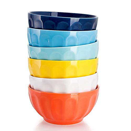 Sweese 106.002 Suppenschalen 6er Set aus Porzellan, Durchmesser 15,0 cm, Füllmenge 750 ml, Müslischale, Salatschüssel, Suppenschale, Bunte Serie