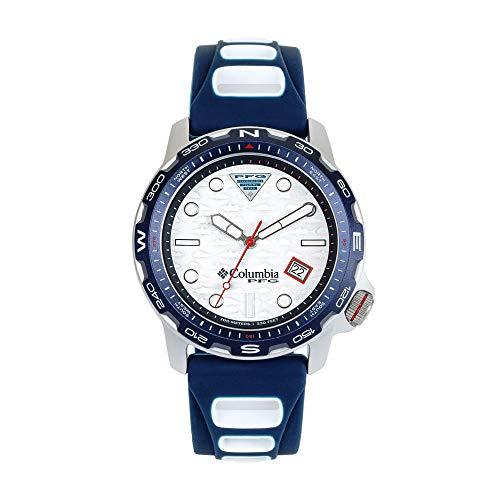 Columbia Aluminum Quartz Sport Watch with Silicone Strap, Blue, 5 (Model: PFG02-003)