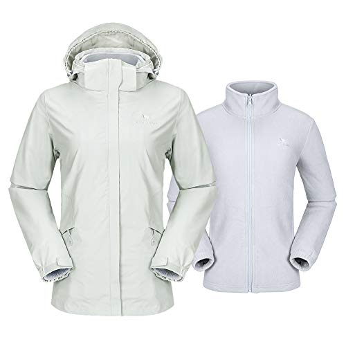 CAMEL CROWN Damen Outdoor 3 in 1 Skijacke mit Fleece Jacke Wasserdicht Winddicht Warm Winterjacke Funktionsjacke, Silber-Grau, M