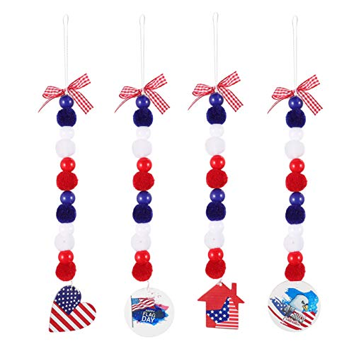 VALICLUD 4 Piezas Día de La Independencia Guirnalda de Cuentas de Madera Guirnalda de Bolas de Fieltro Colgantes Decorativos de Borla Colgantes de Pared Rojo Azul