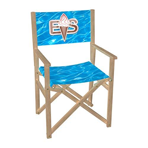Vispronet Regiestuhl EIS, Eiscafé Outdoor Klappstuhl ✓ Buchenholz ✓ Rückenlehne & Sitzfläche mit Druck ✓ bis 110 kg