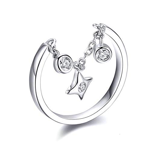 JIARU 925 Sterling Silver Ring for Women Adjusatable ring fashion simple ring and Stars platinum plated rings for Girl Open Finger Ring Gift
