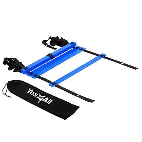 Yes4All Agility Ladder - Speed Agility Training Ladder with Carry Bag - 8 Rung (Blue)