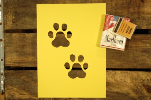 紙製 ステンシル 型紙 ワンシート 犬の足跡 肉球 あしあと 2個 【6インチ】