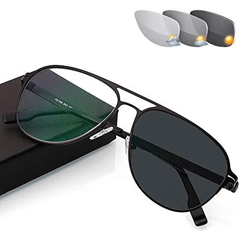 Eyetary Lesebrille mit Übergang photochrome, asphärische Bifokallinse Outdoor-Lesegeräte Aviator-Sonnenbrille - UV400 / Anti Glare/in Reading Vergrößerung 1,00 bis 3,00 Stärke,Black,+1.0