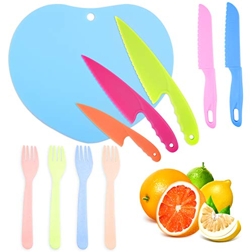 WXJ13 10 Pieces Kids Kitchen Knives and Plastic Cutting Boards and Forks Set, Children's Cooking Knives, Kids Knives for Fruit, Bread, Cake, Lettuce Knives, Salad Knives and Safe Kitchen Knives