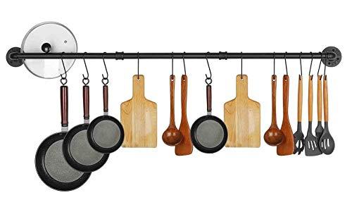 47.2 inch Pot Rack Wall Mounted Pans Hanging Organizer Rail Kitchen Lids Utensils Holder Cup Hanger Bar Multi Functional Detachable Industrial Pipe Pot Rack Under Cabinet, 10 S Hooks,Black