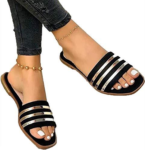 XiuLi Sandalias de Mujer, Zapatillas de Punta Abierta para Mujer, Sandalias de Plataforma, Zapatos para Caminar de Verano, Zapatos Casuales, Sandalias de Playa (Color : Black, Size : EU:37/UK:4.5)