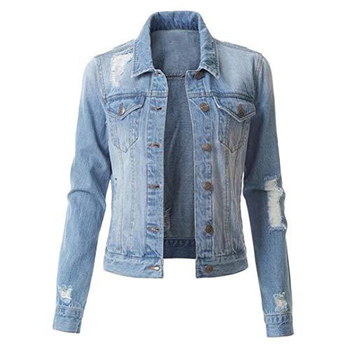 Renost Chaqueta de Mezclilla Rasgada Corta Delgada de Primavera para Mujer Streetwear Chaqueta de Talla Grande Negra Azul Sky Blue 3XL