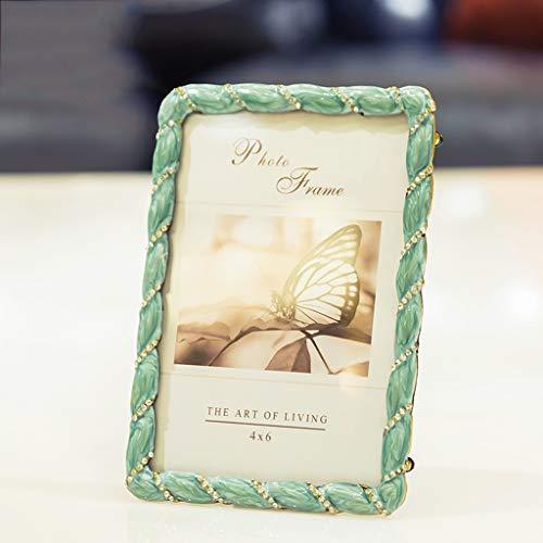 Marco de la foto Marco de imagen 4 × 6 o 5x7 metal Marcos de la foto con la decoración del Rhinestone de los regalos de boda for la mesa de escritorio de pantalla verticalmente regalos mamá día único
