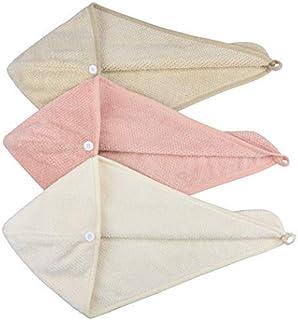 HOPESHINE Women's Soft Shower Hair Drying Towels Twist Hair Turban Wrap Drying Cap Great Gift for Women (3-Pack Khaki+ Off White+ MistyRose)