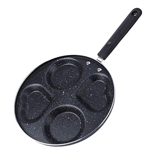 Antiadherente Pan - 4 en forma de corazón del agujero Sartén Antiadherente Cooking Pan Cocina Artículos para cocinar desayuno fabricante de desayuno cocinar, Adecuado para cocina de inducción, gas