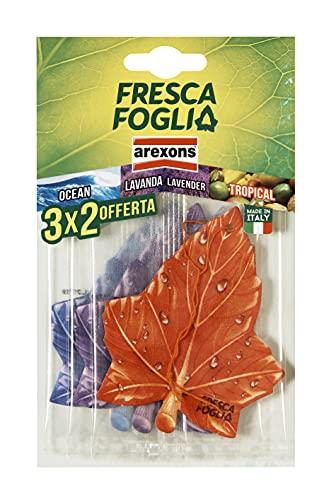 AREXONS Fresca Foglia Profumatore Auto Tris Ocean, Lavanda, Tropical, profumatore ambiente auto in cartonfeltro 3x2, regolazione di profumazione, facile dosaggio