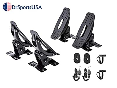 DrSportsUSA Car Rack Kayak Canoe Universal Carrier with Bow and Stern Lines Car Roof Kayak Canoe Gunwale Brackets