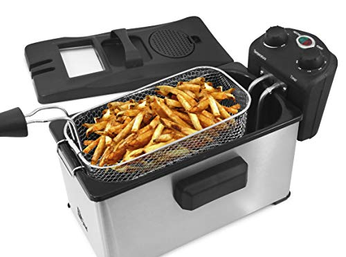 Maxi-Matic Watt Stainless-Steel Triple Basket Electric Deep Fryer with Timer and Temperature Knobs and Odor Free Filter