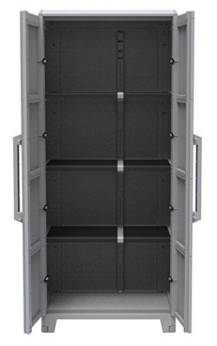 Gartenschrank aus Kunststoff. Mit modularen Böden, abschließbaren Türen und Metallscharnieren. IP43 geprüft in 3 verschiedenen Größen. (XL)