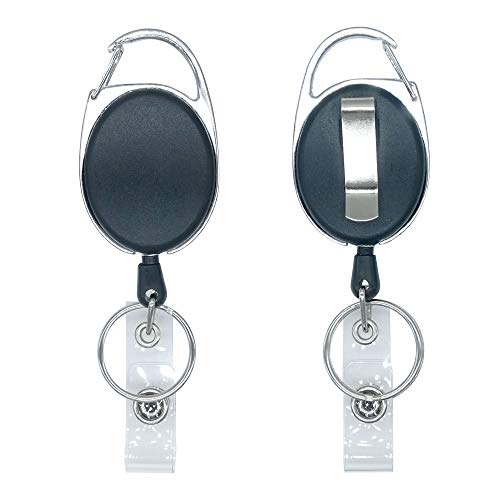 HOSL 20 Pack Clip On Retractable Carabiner Reels with Split Ring for ID Badge Holders Key Ring Key Cards and ID Cards
