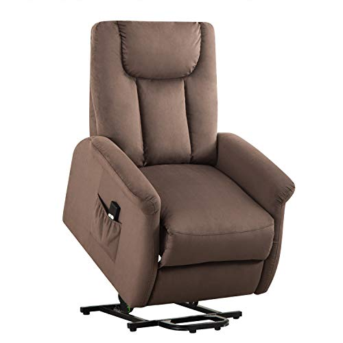 Bonzy Home Power Lift Recliner Chair for Elderly, Overstuffed Cozy Single Sofa for Living Room - Thick and Firm Padded Reclining Chair (Chocolate Power Lift Recliner)