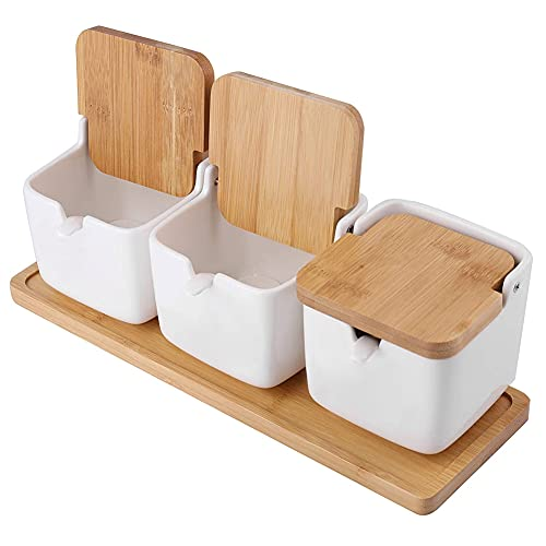 Tarros De Azúcar Cuencos De Cerámica Conjunto Spice Jar Pot Sal Bodega De Contenedores con Tapas De Bambú Cucharas Condimento Condimento Box