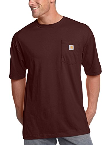 carhartt Men's K87 Workwear Pocket Short Sleeve T-Shirt (Regular and Big & Tall Sizes), Port, X-Large