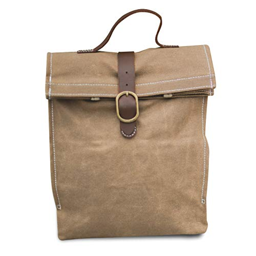 Waxed canvas lunch bag, ecofriendly, reusable, brown, for women, men, girls or boys even teens. The perfect large heavy duty lunch box for meal prep, work or travel.
