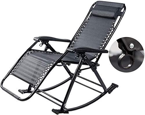 MFLASMF Productos para el hogar Sillas mecedoras de jardín para Adultos Silla de relajación al Aire Libre Sillones reclinables para el Patio - Tumbona al Aire Libre Plegable reclinable par