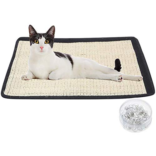 Ideal Swan (2-pack) repmatta katt 30 x 40 cm katter repbräda kattskrapmatta sisal matta med kardborrband och spiralpennor skydd vägg soffa hörn skrivbord ben