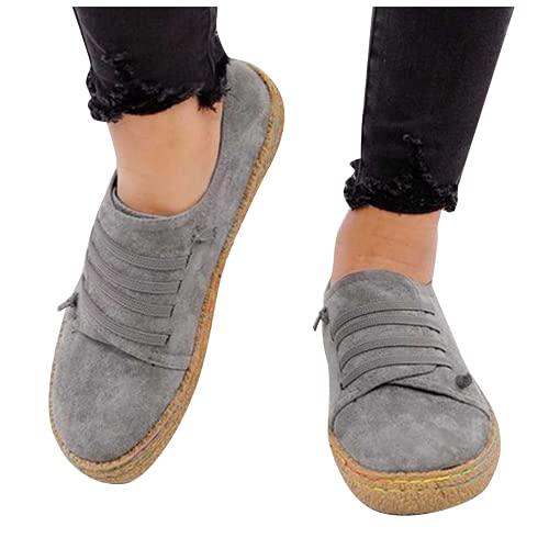 ZBYY Zapatillas de lona para mujer sin cordones para verano, informales, para caminar, cómodas, para caminar, mocasín plano