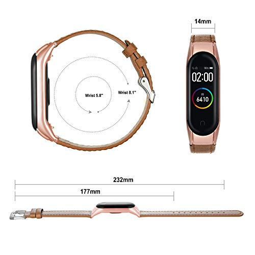 Hianjoo Wrist Strap Compatible with Xiaomi Mi Band 4, Leather Wrist Band Replacment for Mi Band 4 (Light Brown Strap with Rose Gold Frame)