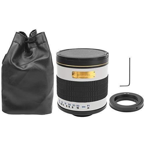 Sxhlseller 500 mm F6.3 Teleobjetivo Espejo Ajustable, Lente de aleación Lente de Enfoque Manual Apta para cámara SLR de Montaje AI(Blanco)
