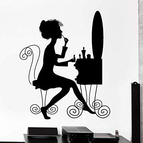 Wandtattoo Beauty Salon Makeup Style Frau Schminktisch Vinyl Aufkleber 56X88Cm