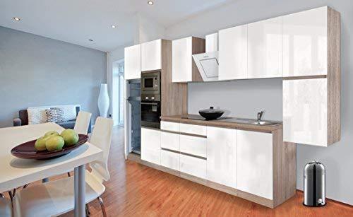 Respekta Premium griploze kitchenette keuken 385 cm eiken ruw gezaagd replica wit hoogglans incl. softclose/koel-vriescombinatie 144 cm & keramische kookplaat