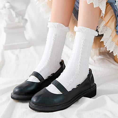 MIWNXM 10 Pares Kawaii Girls Cute White Socks Ruffles School Students Long Sock For Women Vintage Harajuku Streetwear