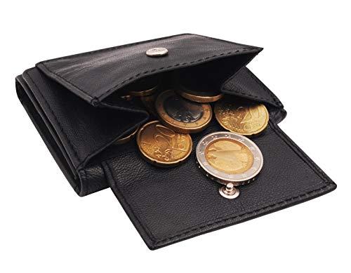 BelleBay Kompakte Mini-Geldbörse | Leder Kleingeldbörse - Scheinbörse | Minibörse - Portmonee | Kleine Münzbörse mit Scheinfach | Portemonnaie (Schwarz MD2)