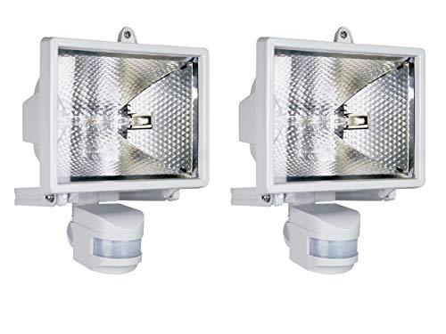 Set van 2 halogeen buitenspots/schijnwerper met bewegingsmelder 110° x 10m 400W in wit - effectieve gevelverlichting