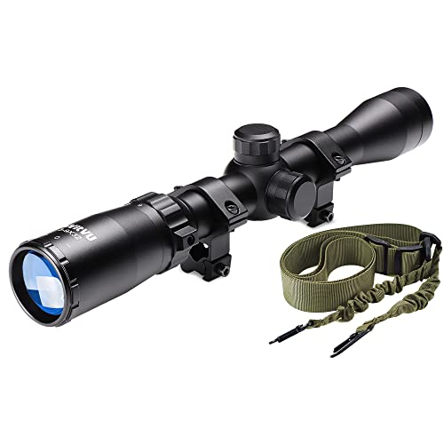 Rifle Scope 3-9X32, Parallax Adjustment, 20mm Ring Mounts, Air Rifle Scope for Hunting and Target Shooting, Two Points Gun Sling with Length Adjuster