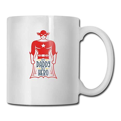 N\A Novedad Tazas de café My Daddy My Hero (2) Taza de Leche de té Blanco de cerámica, 11 onzas