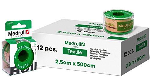Medrull Rollenpflaster Heftpflaster 12 Rollen 5m x 2.5cm Textil Einzeln Verpackt