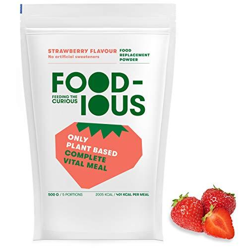 FOODIOUS Erdbeere Eiweißpulver-100% Vegan-Ideal als Mahlzeitersatz oder Diät Shake-Real Dried Strawberries Inside-Frühstückspulver 1kg = 10 Mahlzeiten-Premium Zutaten-Low Zucker Protein Pulver