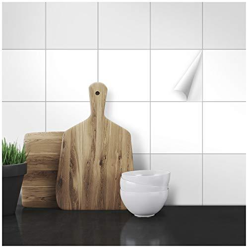 Wandkings Fliesenaufkleber - Wähle eine Farbe & Größe - Weiß Seidenmatt - 15 x 15 cm - 20 Stück für Fliesen in Küche, Bad & mehr