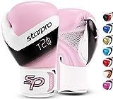 Starpro T20 Guantes de Boxeo de Cuero de PU para Entrenamiento y Sparring en Muay Thai Kickboxing Fitness - Hombres y Mujeres - Múltiples Colores - 8oz 10 oz 12 oz 14 oz 16 oz (Rosa Claro, 8oz)