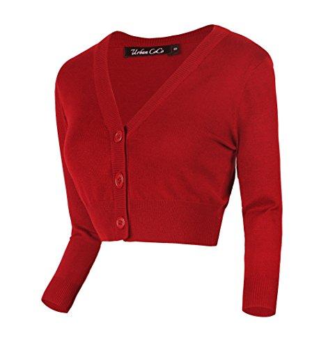 Urban GoCo Damen V-Ausschnitt Kurz-Strickweste Strickjacke 3/4 Ärmel (XL, rot)