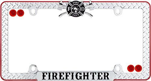 Cruiser Accessories 30936 Firefighter License Plate Frame, Chrome/Black/Red w/Fastener caps