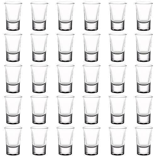Set of 30 Shot Glass 1.2oz Clear Shot Glasses Bulk with Heavy Base for Whisky Brandy Vodka Rum...