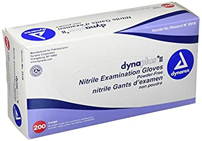 Dynarex Dynaplus Economy Nitrile Gloves, Large, 200 Count from Everready First Aid